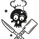 Totenkopf mit Kochmütze und Messern. von Christine Krahl