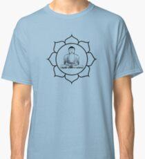 Sitting Buddha Lotus Flower Black Classic T-Shirt