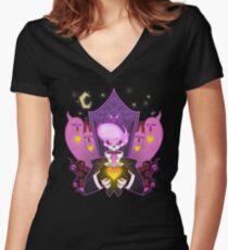 Mystery Skulls Ghost Women's Fitted V-Neck T-Shirt