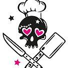 Totenkopf girlie mit Kochmütze. von Christine Krahl