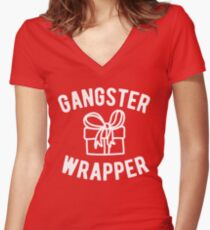Gangster Wrapper Funny Christmas Fitted V-Neck T-Shirt