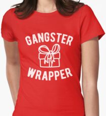 Gangster Wrapper Funny Christmas Women's Fitted T-Shirt
