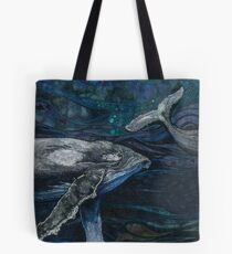 The Deep - Humpback Whales Embroidery - Textile Art Tote Bag
