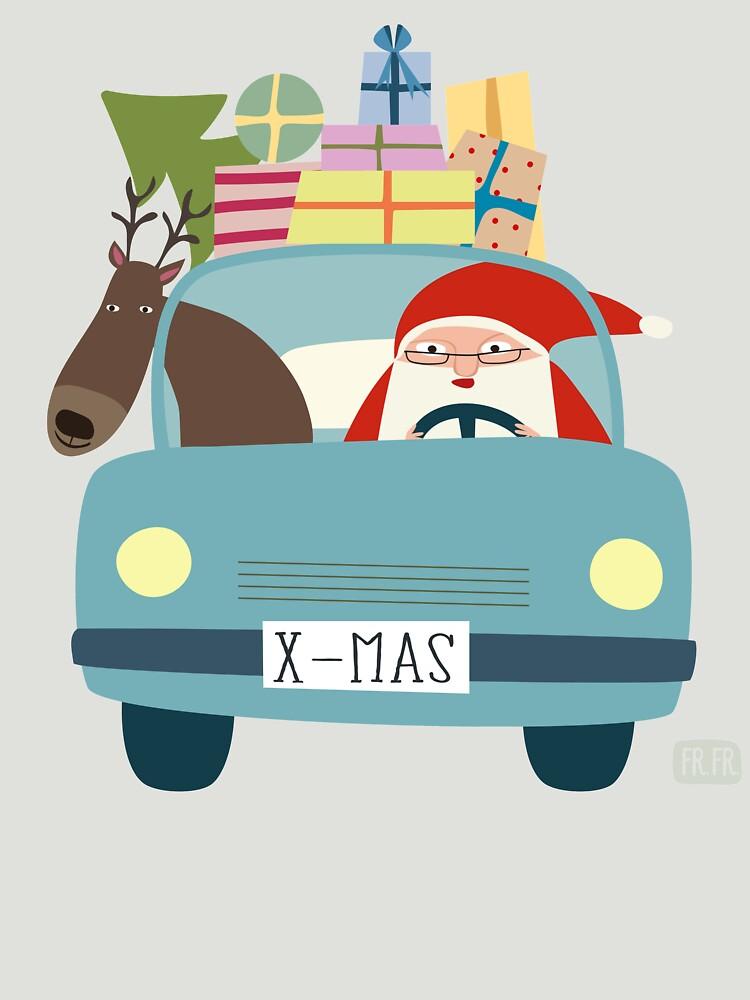 Weihnachtsmann Und Rentier Im Auto Unisex T Shirt By Frfr Redbubble