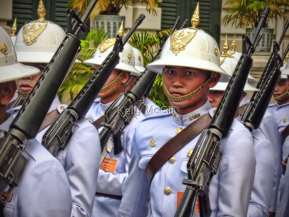 Changing of the Guards, Grand Palace Bangkok by Kelly McGill