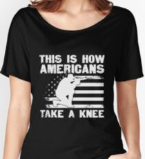 Patriotic Pride Men's T-Shirt This Is How Americans Take A Knee Shirt Distressed USA Flag T-Shirt Veteran Gift Usa Military Pride T-Shirt Women's Relaxed Fit T-Shirt