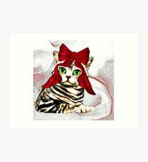 Red ribbon cat Art Print