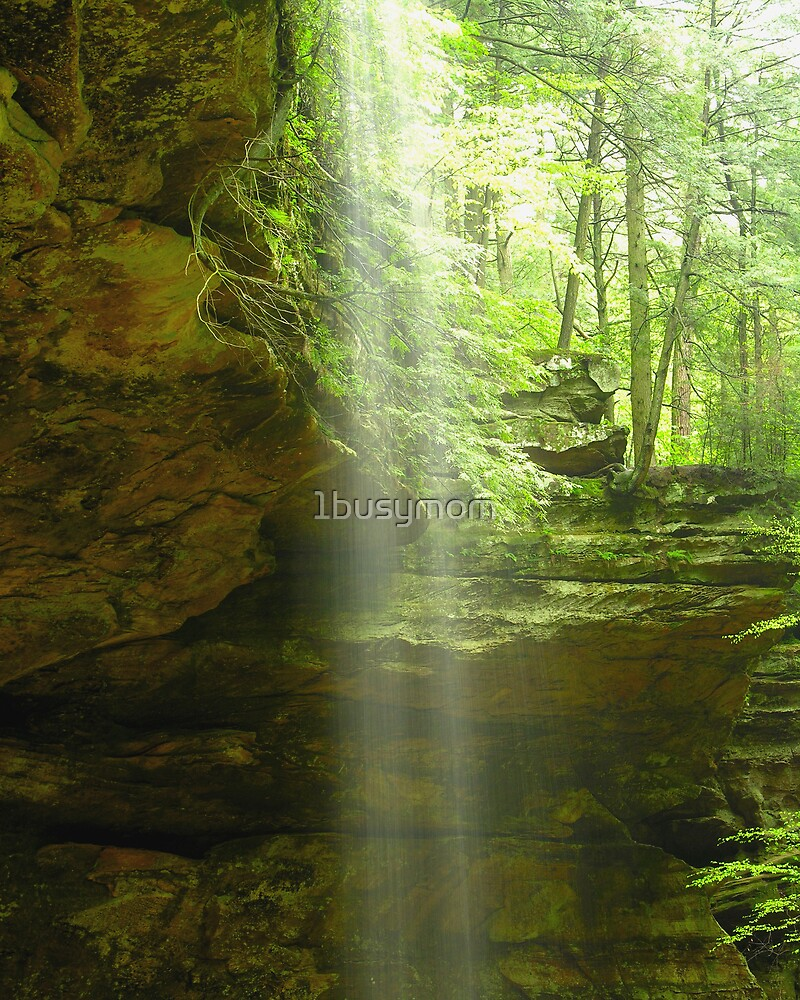 misty waterfall at ash cave by 1busymom