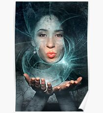 Lady in space blows you a kiss Poster