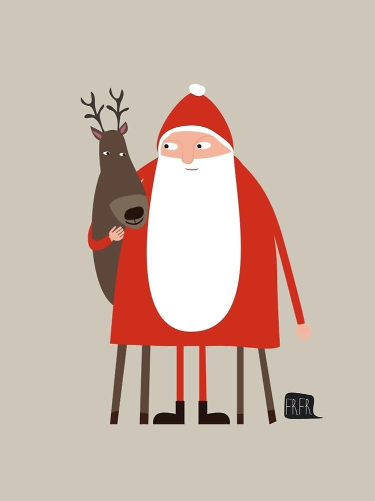 Santa and his reindeer / Weihnachtsmann mit Rentier by FrFr