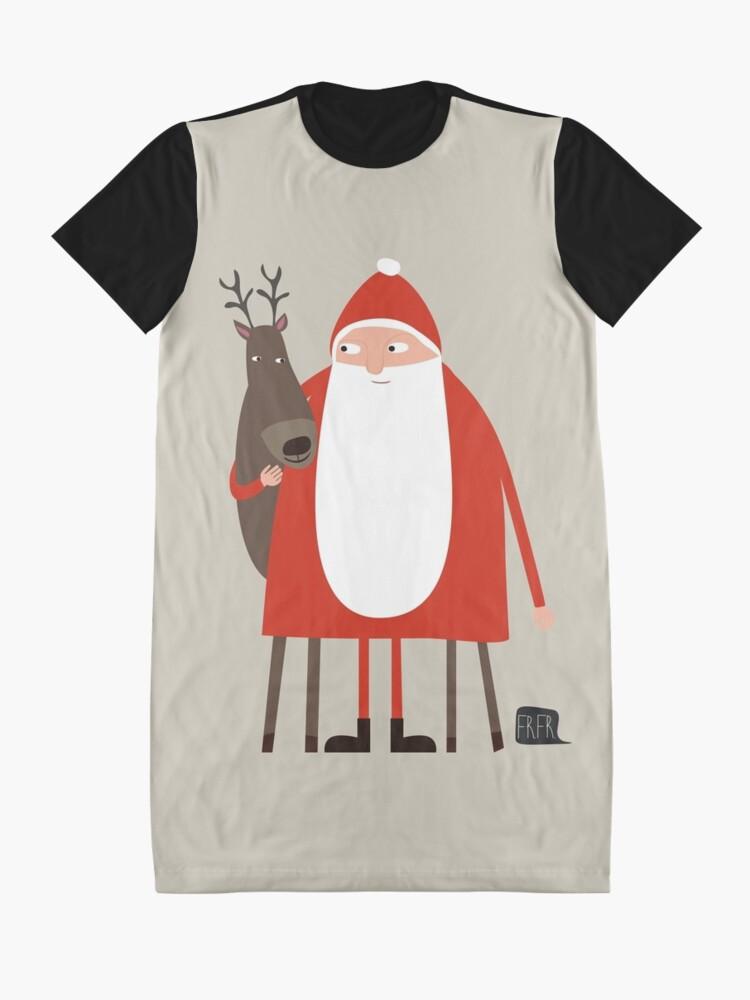 Alternate view of Santa and his reindeer / Weihnachtsmann mit Rentier Graphic T-Shirt Dress