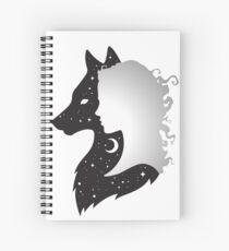 Cuaderno de espiral Ella lobo mujer y lobo con luna y estrellas