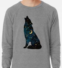 Wolf Silhouette mit Sternen und Mond Leichtes Sweatshirt