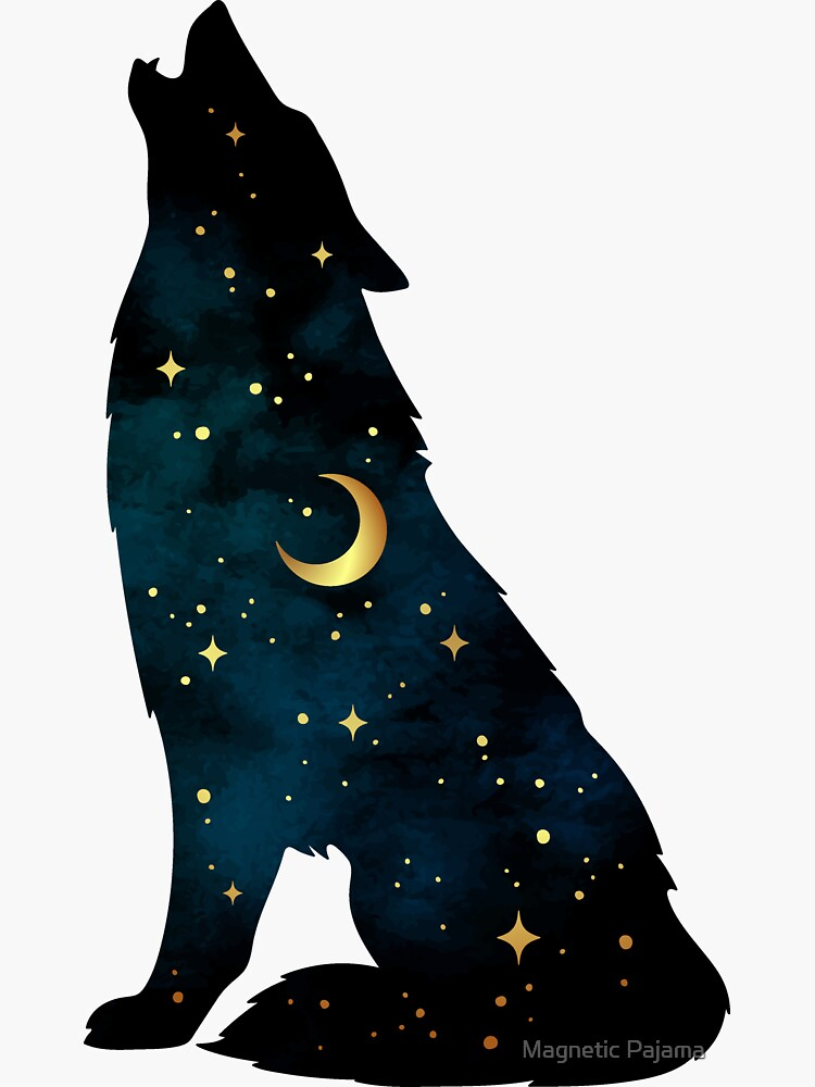 Wolf Silhouette with Stars and Moon by MagneticMama