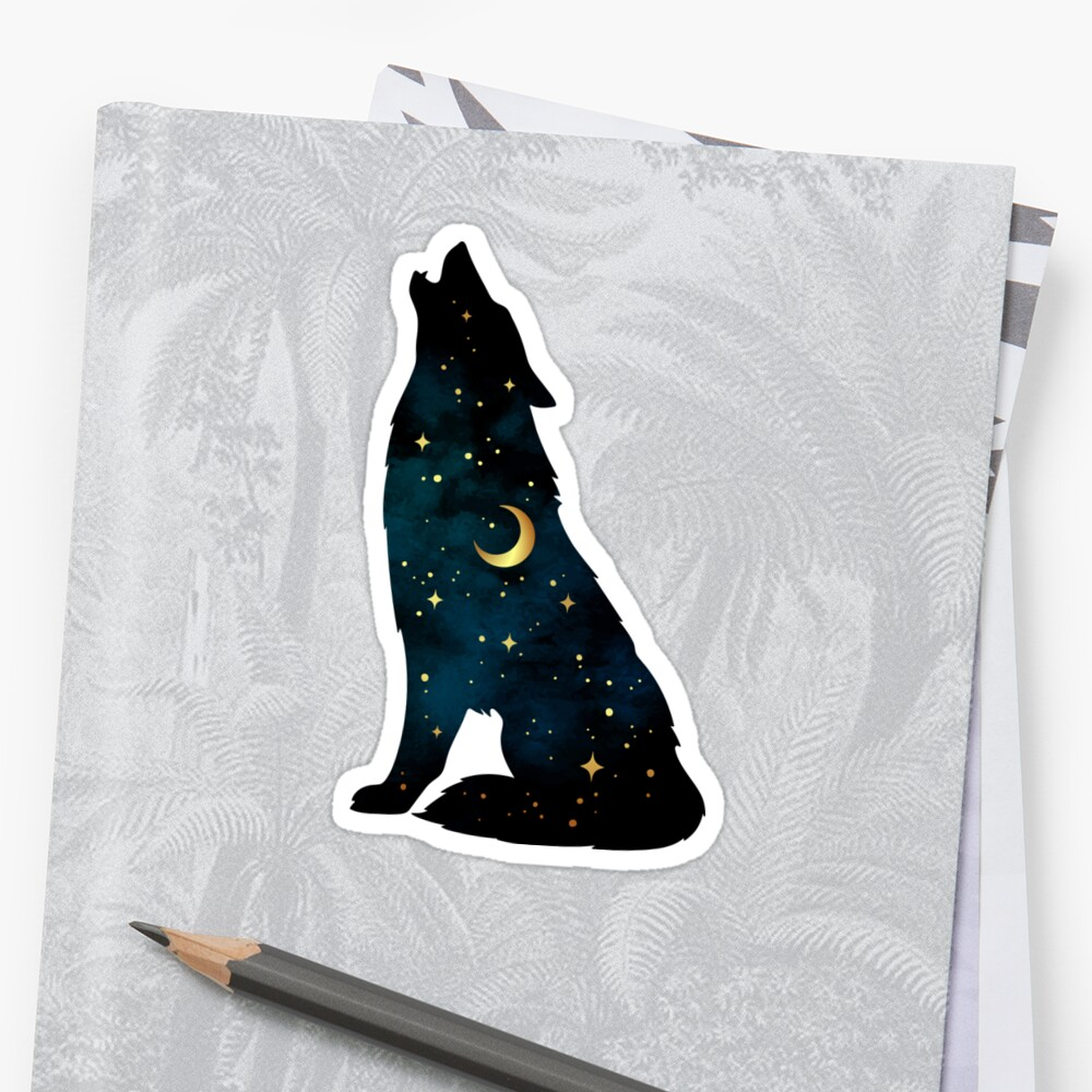 Wolf Silhouette with Stars and Moon Sticker