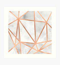 White & Copper Geo Art Print