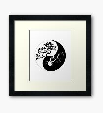 Yin and Yang Boho Trees Yin Yang Symbol for Balance and Harmony Framed Print