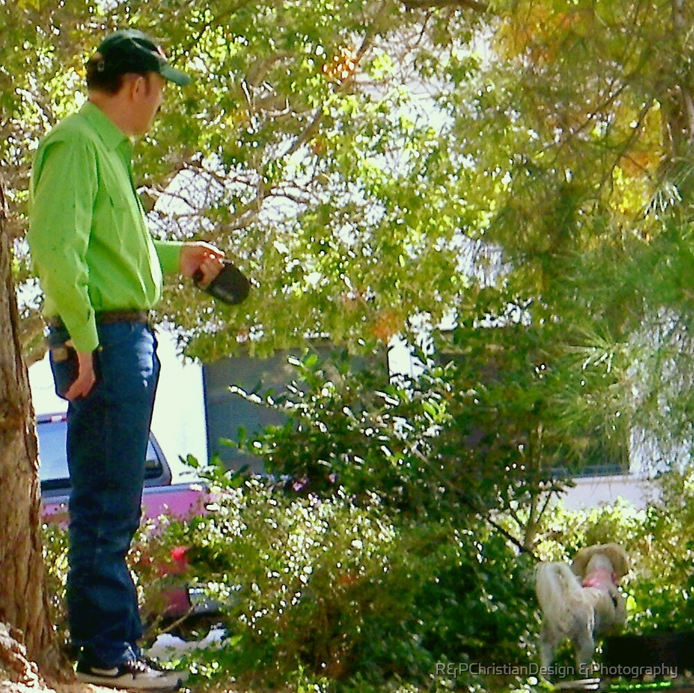 Man Walking His Dog by R&PChristianDesign &Photography