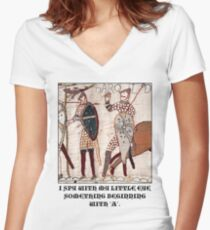 Bayeux Tapestry - I Spy With My Little Eye Something Beginning With 'A'  Women's Fitted V-Neck T-Shirt