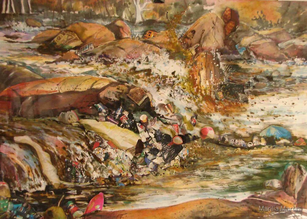 A river whit a lot of poluition. Part 2 ( Acrylic painting whit collage) by Marilia Martin