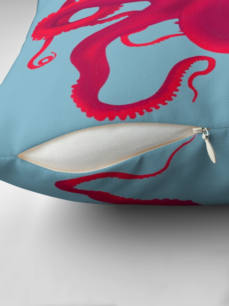 Alternate view of Pink Octopus  Throw Pillow