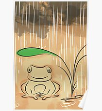 frog in raining day Poster