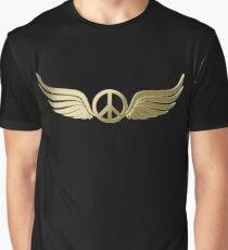 Metal look peace symbol with wings Graphic T-Shirt