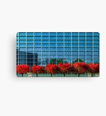 European Parliament in Strasbourg, autumnal view with red trees, France Canvas Print