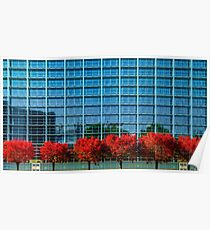 European Parliament in Strasbourg, autumnal view with red trees, France Poster