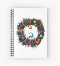 Christmas Wreath with a Deer  Spiral Notebook