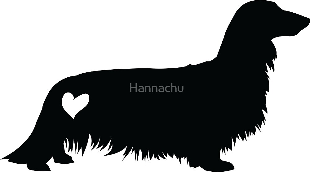 Quot Long Haired Dachshund Silhouette Quot By Hannachu Redbubble