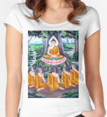 buddhism meditation drawing Women's Fitted Scoop T-Shirt