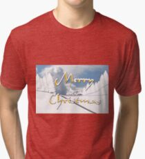Merry Christmas from a Snowy Countryside Tri-blend T-Shirt
