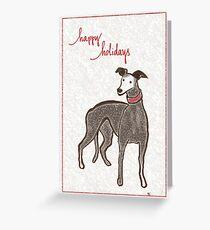 Holiday Greyhound Ears Greeting Card