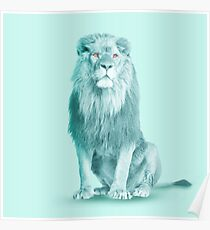lion blue Poster