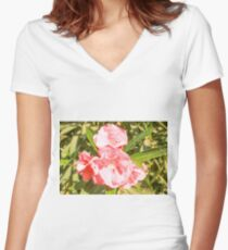 Pink Flowers. Women's Fitted V-Neck T-Shirt