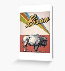 vintage bison - retro bison Greeting Card