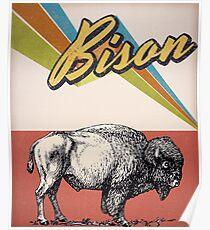 vintage bison - retro bison Poster