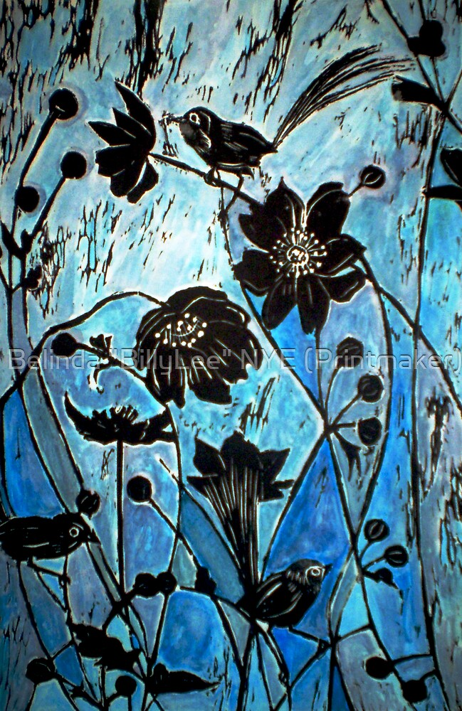"""Blue Japanase Woodcut by Belinda """"BillyLee"""" NYE (Printmaker)"""