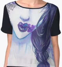 Blue Watercolor Girl Chiffon Top