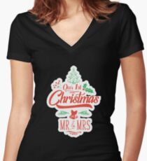 Our First Christmas As Mr And Mrs Couple Newlyweds Women's Fitted V-Neck T-Shirt