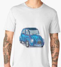 Classic Citroën Deux Chevaux 2CV Loose Sketch - Blue Men's Premium T-Shirt