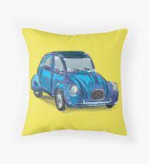 Classic Citroën Deux Chevaux 2CV Loose Sketch - Blue Throw Pillow