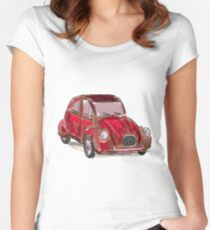 Classic Citroën Deux Chevaux 2CV Loose Sketch - Red Women's Fitted Scoop T-Shirt