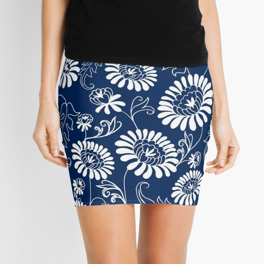 Vintage flowers on deep blue Mini Skirt Front