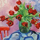 Red tulips, green jug by LucyStripes