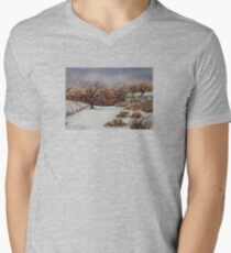 snow scene with snow covered trees and cottages painting  Men's V-Neck T-Shirt
