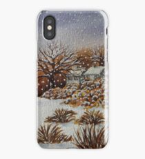 snow scene with snow covered trees and cottages painting  iPhone Case