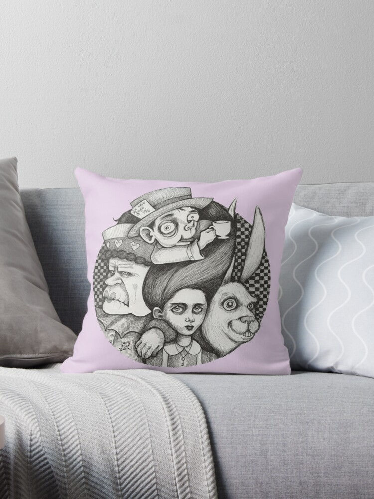 Alice in Wonderland Pillow Pen Drawing by Jennifer Latham Robinson by DitchFrame