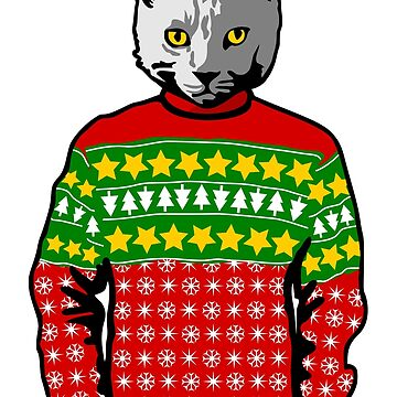 Ugly Christmas Sweater Cat by pda1986